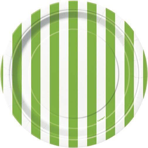 Petites Assiettes Rayures Vertes et Blanches pas cher