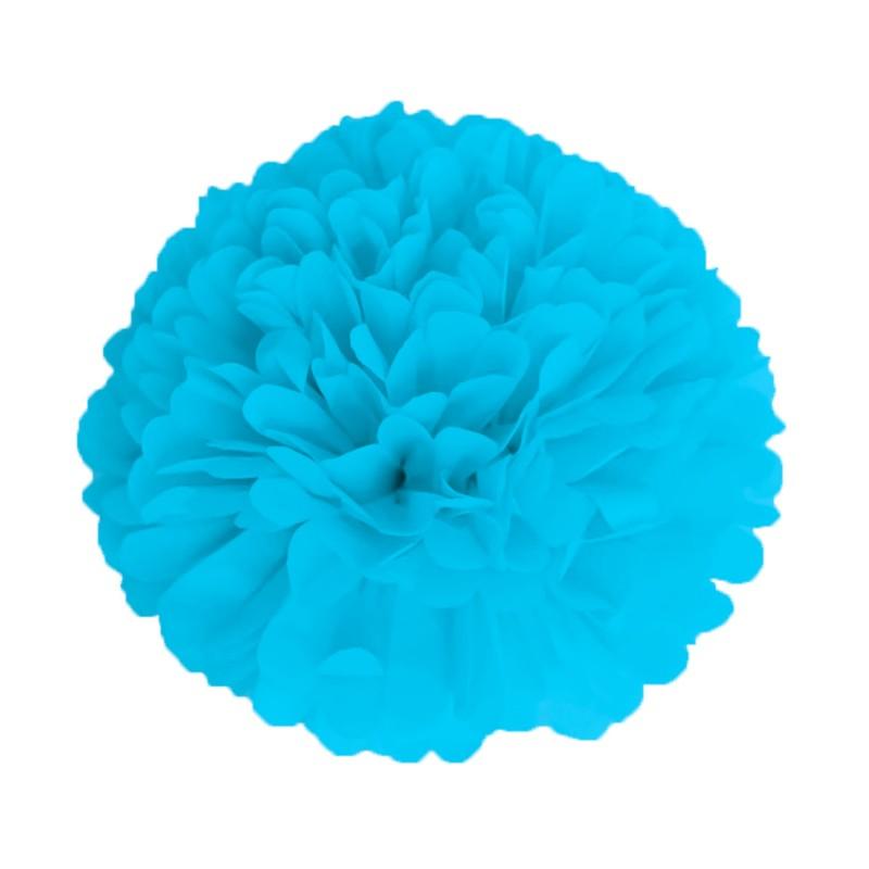 Pompom Bleu Glacier en papier