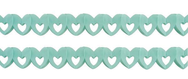 sachet de 2 guirlandes papier coeur bleu pas cher
