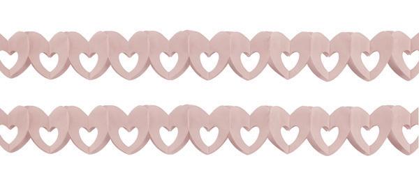 Sachet de 2 guirlandes papier coeur rose pas cher