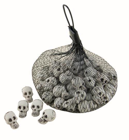 sachet de 50 petits crânes en plastique pour Halloween