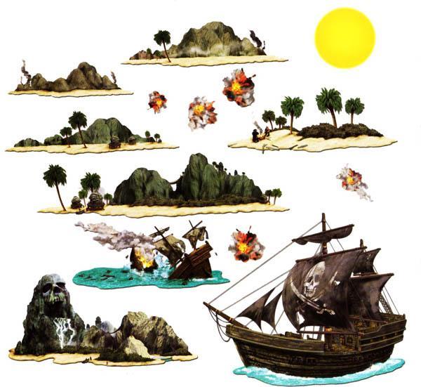 Set de 14 décors pirate pas cher