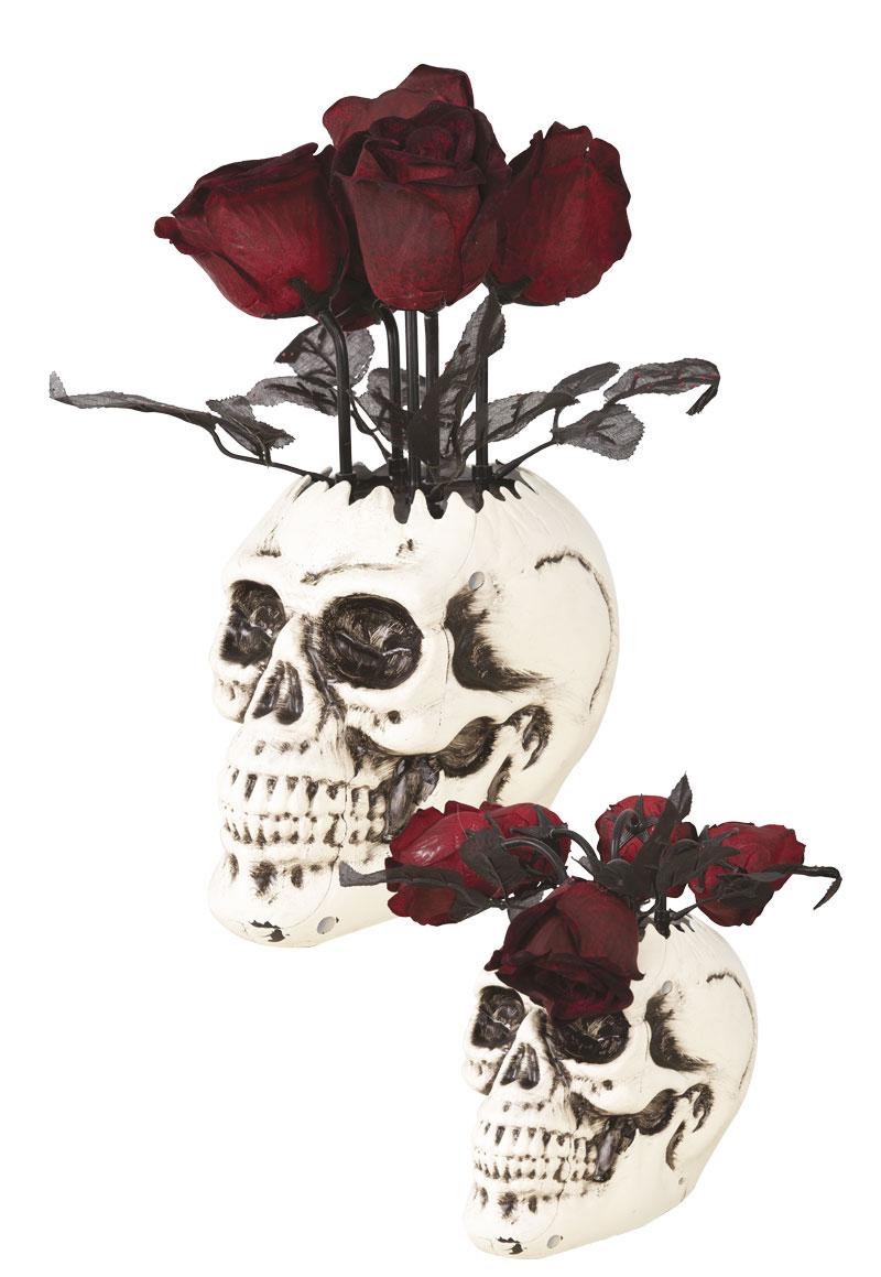 vase crâne animé et sonore avec roses pour Halloween